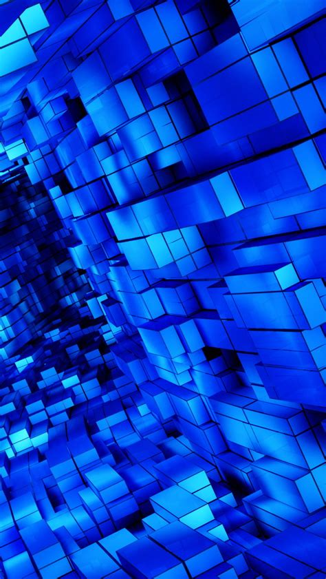 3d Wallpapers Blue by Abstract Blue Cubes The Iphone Wallpapers