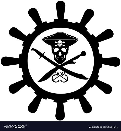 Boat Steering Wheel Silhouette by Steering Wheel Of A Pirate Ship Royalty Free Vector Image