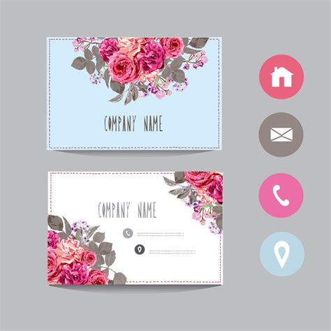 girly business cards templates free flower business card template with society icons vector 14