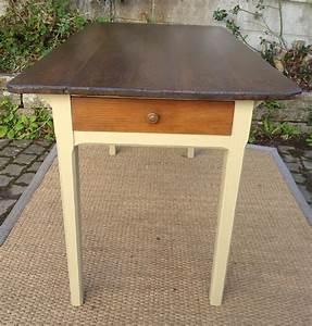 Table De Cuisine Ancienne Bois Peint Et Patin Avec Tiroir