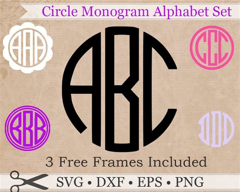 circle monogram svg eps dxf png files circle monogram font design  frames circle svg