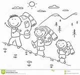 Hiking Mountains Cartoon Illustration sketch template
