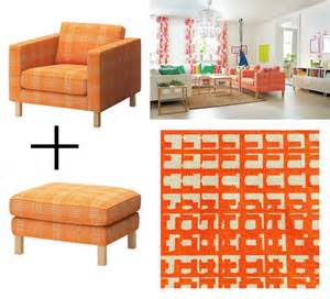 ikea karlstad husie orange armchair and footstool