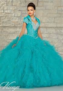 robe de mariã e turquoise beaded larissa satin with a ruffled tulle skirt quinceanera dress style 89036 morilee