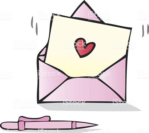 Love Letter With Heart Shape Cartoon Illustration Stock