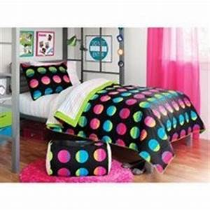 Black Pink & Green Bright Polka Dots Teen Twin XL