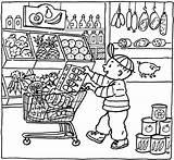 Coloring Grocery Pages Market Printable Kleurplaat Colouring Shopping Supermarket Sheets Supermarkt Kleurplaten Thema Getcolorings Getdrawings Shops Popular Vile Books Template sketch template