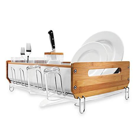 simplehuman bamboo frame dish rack bed bath