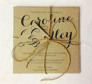 brown kraft rustic with twine wedding invitation and rsvp With recycled paper wedding invitations australia