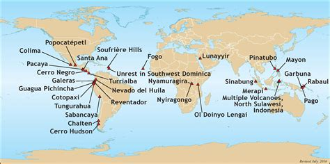 active volcanoes   world map  travel information