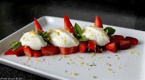 fraises et ricotta au citron entre sucre sel