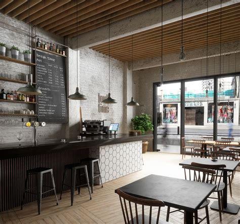 break time cafe interior ceiling wood bar tiles lighting
