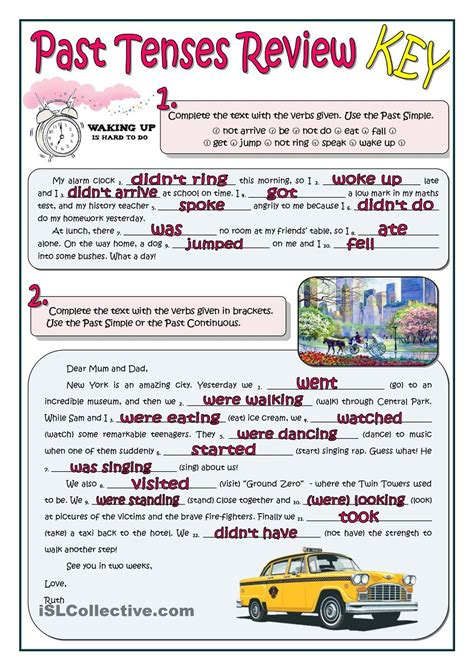 past tenses review language worksheets