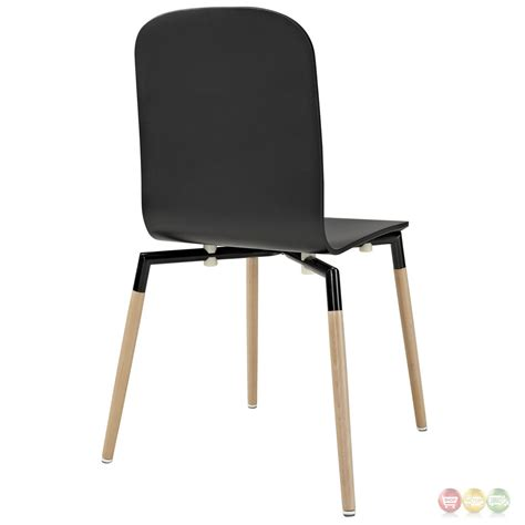 stack stylish contemporary wood dining side chair black