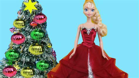 christmas tree decorating elsa anna  kids