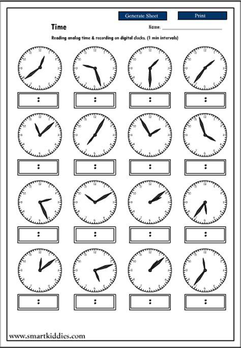 images  digital clock worksheets printable