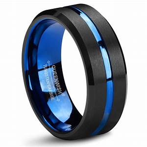Queenwish Blue And Black Tungsten Carbide Wedding Band 8mm