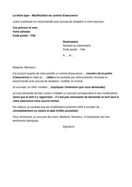 Modification Contrat De Travail Acceptation Tacite by Assurances Modification Du Contrat D Assurance Lettre