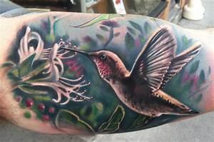 hummingbird and honeysuckle by Johnny Smith: TattooNOW