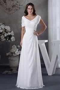 A Line V Neck Floor Length Chiffon Wedding Dress Op4614