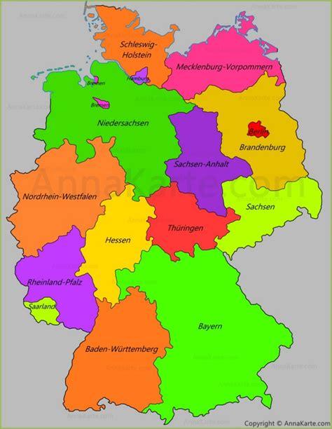 deutschland karte mit bundeslaender laender annakartecom