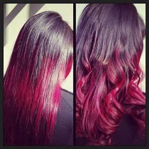 Ombré Hair Rouge : coloration tie and dye rouge pointe rouge pinterest ~ Melissatoandfro.com Idées de Décoration