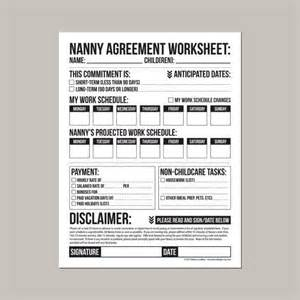 Infant Daily Sheet Template Nanny Agreement Worksheet Printable Pdf Sheet