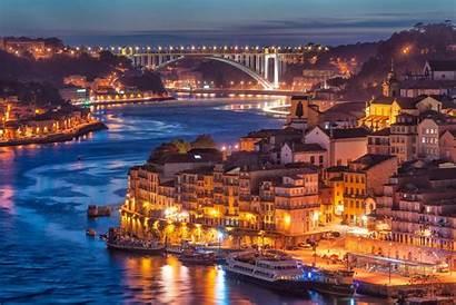 Porto Nightfall Bridge River Portugal Wallpapers Oporto