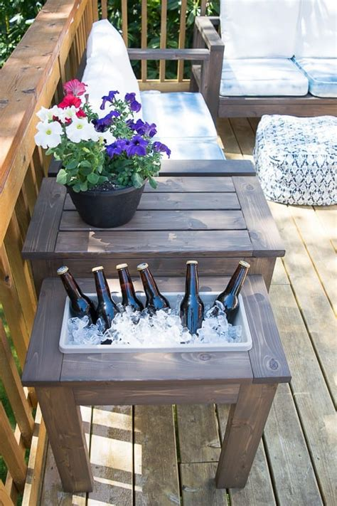 how to build an outdoor side table diy end table with built in planter or ice bucket the