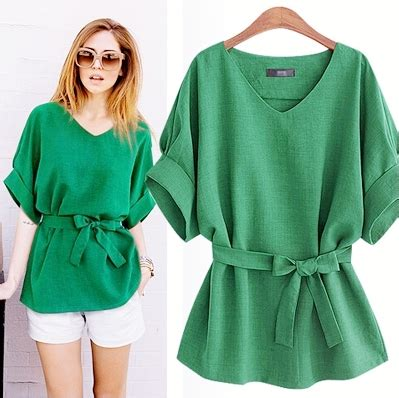 womens green blouse size plus size xl 5xl blouse solid v neck
