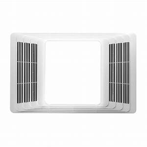 Broan white bathroom fan with integrated heater and