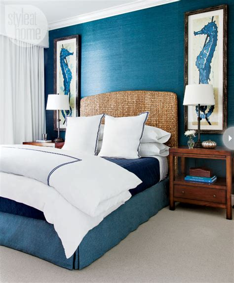 Master Bedroom Guest Bedroom Blue And Grass Cloth