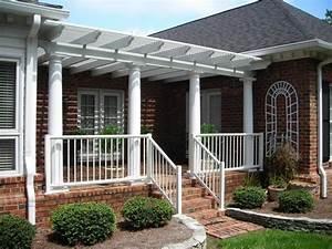 Front Porch Awesome Front Porch Design Idea White Column Railing Pergola Front Porch Pergola Design Ideas