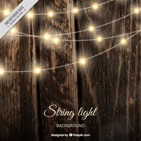 realistic wooden background  string lights vector