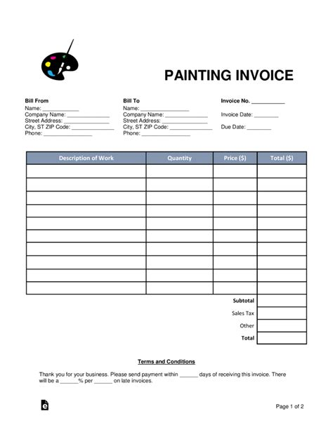 painting invoice template word  eforms