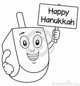 Dreidel Coloring Hanukkah Holding Funny Jewish Illustration sketch template