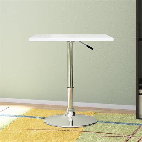 square white trundle adjustable height corliving adjustable height white swivel square bar table