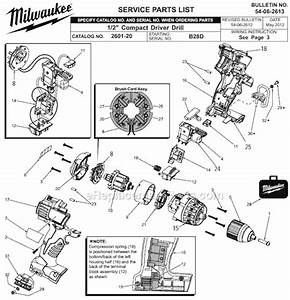 Milwaukee 2601-20 Parts List And Diagram