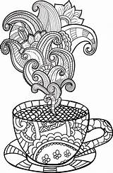 Coloring Coffee Pages Cup Tea Colouring Adult Printable Drawing Vector Zentangle Hand Clipart Abstract Drawn Imagem Books Rainy Illustration Doodle sketch template