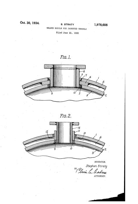Patent US1978608 - Welded nozzle for jacketed vessels ...