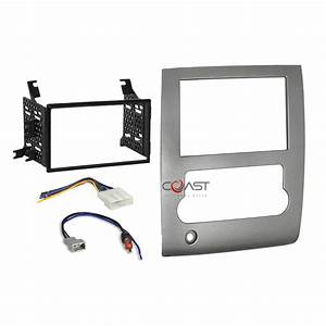 Car Radio Stereo Double Din Silver Dash Kit Wire Harness