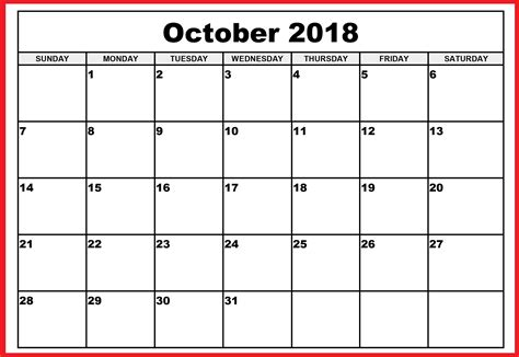 october monthly printable calendar