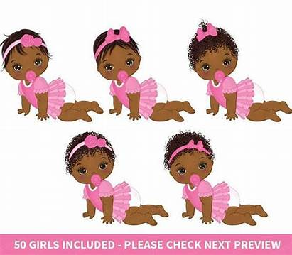 Clipart Shower African American Vector Clip Babies