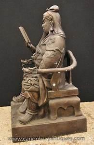 Big Japanese Bronze Statue Reading Man Emperor Shogun