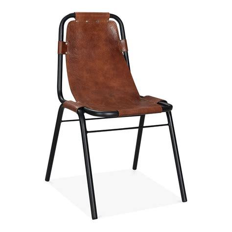 chaise de bureau vintage brown leather mercury metal side chair industrial dining