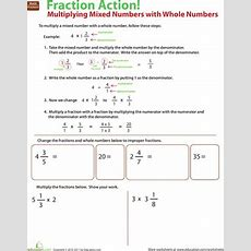 Multiply Mixed Numbers With Whole Numbers  Worksheet Educationcom