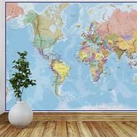 best world map wall murals giant world map mural blue ocean by maps international ...