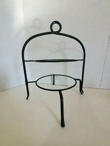 tiered black wrought iron plate pie stand buffet server farmhouse party ebay