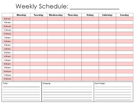 ideas schedule templates pinterest