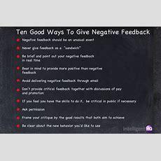 Ten Ways To Provide Negative Feedback In A Constructive Way